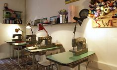 Sweat Shop Cafe - Paris: Rent a sewing machine by the hour, learn a new skill while sipping espresso or munching on herb-laden Finnish cake. Opened by a Swiss make up artist and an Austrian fashion designer.