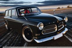 Volvo Amazon Estate, highly modified by the owner, an engineer with Koenigsegg supercars.  This car has a 600+ HP Volvo engine, full roll cage etc.