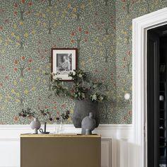 Pomona by Galerie - Green - Wallpaper : Wallpaper Direct Tree Wallpaper For Walls, Green Wallpaper, Home Wallpaper, Wallpaper Roll, Pattern Wallpaper, Wallpaper Ideas, Galerie Wallpaper, Inviting Home, Designers Guild