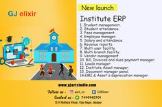 1. Student management. 2. Student attendance. 3. Fees management. 4. Employee manager. 5. Salary and attendance. 6. Revenue reports. 7. Multi user facility. 8. Multi branch facility. 9. Vendor management. 10. Bill, Invoices and dues payment manager. 11. Leads manager. 12. Institute Asset manager. 13. Document manager panel. 14.EMI & Asset's depreciation manager. * Save cost of 45000 Indian Rupees/ month* *BOOK NOW only @1500 rupees.* * Offer for limited time period* Student Attendance, Management, Product Launch, Led