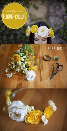DIY flower crown. These are beautiful for flower girls, bridesmaids, or even the bride!
