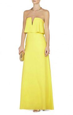 Vestido largo, amarillo palabra de honor de BCBG.