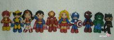 super heroes, polymer clay charms, flash, wolverine, wonder woman, superman, iron man, supergirl, captain america, spiderman, hulk, catwoman