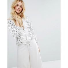 Aeryne Lace Up Front Blouse In Dot Print (92 CAD) ❤ liked on Polyvore featuring tops, blouses, multi, lace up shirt, white lace up shirt, polka dot shirt, vintage white blouse and white shirt blouse