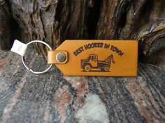 Towtruck Genuine leather key ring, DOUBLE SIDED Recovery truck key chain, keyring 259 by MacksLeather on Etsy Motorcycle Leather, Biker Leather, Cowhide Leather, Leather Keyring, Split Ring, Natural Leather, Italian Leather, Key Rings, Key Chain