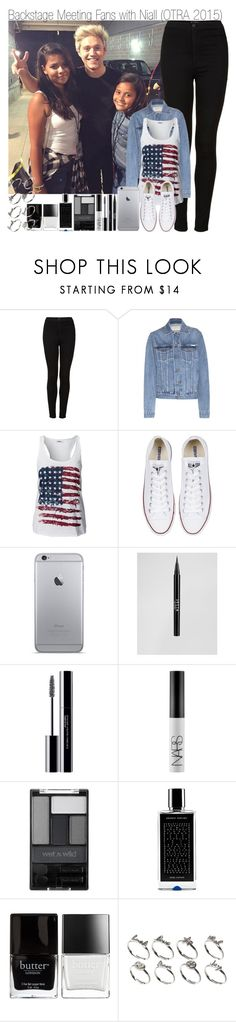 """""""Backstage Meeting Fans with Niall (OTRA 2015)"""" by elise-22 ❤ liked on Polyvore featuring Topshop, Calvin Klein Jeans, ONLY, Converse, Stila, shu uemura, NARS Cosmetics, Wet n Wild, Agonist and Butter London"""