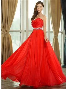Graceful A-Line Beading Ruffles Sweetheart Floor-Length Prom Dress