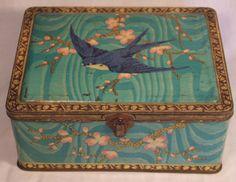 Antique Blue Bird Toffee Art Deco Shop Tin Japanese Cherry Blossom C1920s | eBay