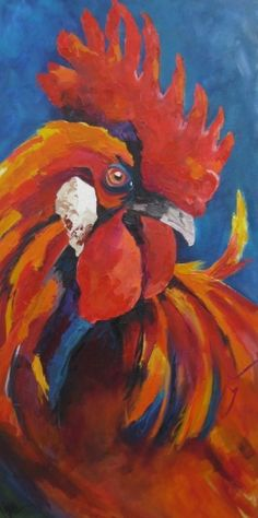 Don't Even Think About It by Kay Wyne, painting by artist Kay Wyne Paintings I Love, Animal Paintings, Watercolor Paintings, Original Paintings, Watercolors, Original Artwork, Acrylic Paintings, Rooster Painting, Rooster Art