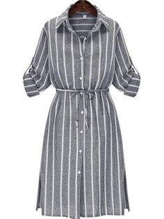 To find out about the Grey Slate Chemise Banded Lapel Vertical Stripe Split Shirt Dress at SHEIN, part of our latest Dresses ready to shop online today! Long Sleeve Striped Dress, Long Sleeve Shirt Dress, Dress Long, Dress Shirt, Sleeve Dresses, Long Dresses, Elegant Dresses, Casual Dresses, Fashion Tips For Girls