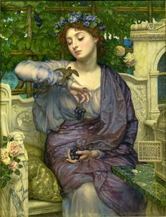 Sir Edward John Poynter (1836-1919) Lesbia and her Sparrow, 1907,