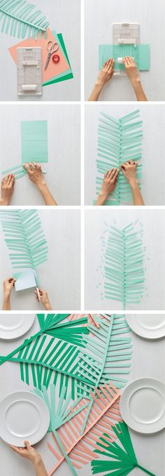 The best DIY projects & DIY ideas and tutorials: sewing, paper craft, DIY. Diy Crafts Ideas DIY paper palm leaf runner from Martha Stewart Crafts -Read Kids Crafts, Diy And Crafts, Craft Projects, Paper Crafts, Tree Crafts, Kids Diy, Luau Party, Diy Party, Party Ideas