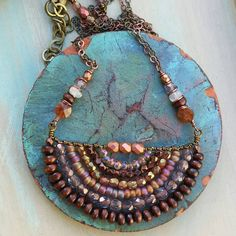 Beaded Naguine NECKLACE Copper, Lilac, Glass, Crystals, Wood, Gypsy, Hippie, Boho Style, One-of-a-kind, *Ready-to-ship* by GypsyLamb on Etsy https://www.etsy.com/listing/276751498/beaded-naguine-necklace-copper-lilac