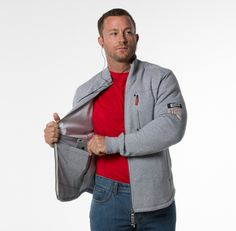 THE TRUMAN FLEECE $99.00 -  Men's Phone Safe, Zip Front Premium Fleece Jacket | This versatile jacket effortlessly takes you from the office, to the gym, and out to your dinner meeting in style. The phone safe inside pocket was designed to stash your smart phone without creating a bulk in the pocket, and provides a convenient earphone cord port so you can simply plug in and go (hands-free of course). #keepitinyourpocket #THUMB #endstupidity #kickstarter #insidepocketco