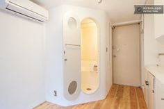 Tokyo's Nakagin Capsule Tower, built in 1972, consists of 144 cubic pods (8-by-7-by-12-foot apartments). Designed for single salarymen, the units are equipped with a stove, refrigerator, TV, reel-to-reel tape deck, and telephone. A table folds down from the wall for dining and work.