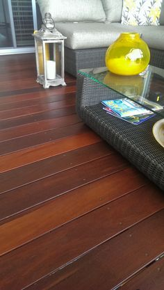 Jarrah decking with yellow décor Decking, Inspirational, Yellow, Table, Furniture, Home Decor, Decoration Home, Room Decor, Tables