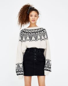 Pull&Bear - woman - clothing - skirts - denim paper bag mini skirt - black - 05397314-V2018
