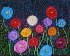 "Ranunculus by Rachel Biggs | $250 | 20""w x 16""h | Original Art | http://www.vangoart.co/buy/art/ranunculus @VangoArt"