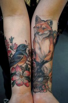 See more Red fox and little bird tattoo on arms