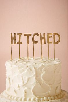 'Hitched' Cake Topper