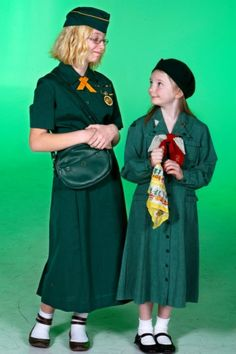 Brianna Sanford, left, and Abby Hardman wear vintage Girl Scout uniforms from the 1940s. Sanford wears a 1940s war-era uniform, and Hardman wears a 1948 Cadette-level uniform. They also have a hats, a shoulder bag and a scarf from the era.  Read more: http://billingsgazette.com/news/local/gallery-girl-scout-uniforms-then-and-now/collection_24fcc5be-1e09-5605-afff-7e4bb02b2fb5.html#ixzz2rHTEQjBI Gallery: Girl Scout uniforms then and now