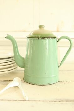 Large Vintage French Green Enamelware Coffee Pot Antique Enamel Cafetiere