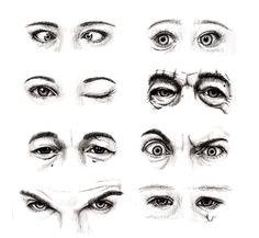 8 sets of eyes: cross-eyed female, staring baby, female winking, old man, Asian man, angry man, glaring man, and crying baby eyes.