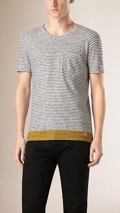 White Contrast Hem Striped Cotton Linen T-shirt - Image 1