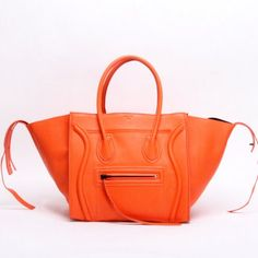 Celien Handbags Boston Croco Leather Bags Orange [Celine-046] - €240.00
