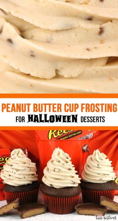 This really is the Best Peanut Butter Cup Frosting for Halloween Desserts. Creamy and sweet and delicious, you'll never need another Peanut Butter Cup Halloween Frosting recipe! It is so easy to make and boy will it be delicious on your Halloween Treats! Icing Recipe, Frosting Recipes, Cupcake Recipes, Cupcake Cakes, Dessert Recipes, Frosting Tips, Köstliche Desserts, Delicious Desserts, Halloween Desserts