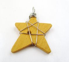 charm wire wrapped yellow star ready to ship