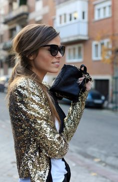 Gold sequined blazer.