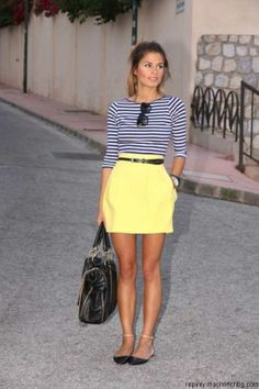 A striped shirt pairs nicely with virtually everyt