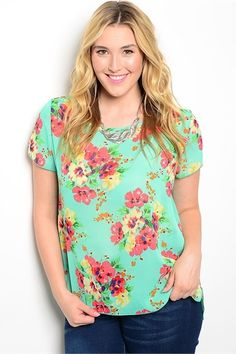 Green Floral Curvy Top - My Sisters Closet