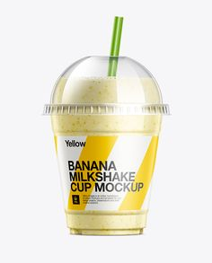 Banana Milkshake Cup with Straw Mockup. Present your design on this mockup. Simple to change the color of different parts and add your design. Includes special layers and smart objects for your creative works. Billboard Mockup, Smoothie Cup, Banana Milkshake, Cup With Straw, Phone Mockup, How To Make Logo, Bottle Mockup, Cup Cup, Plastic Plastic