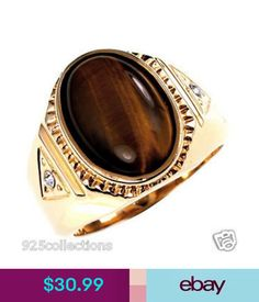 14 X 10 mm Oval Cut Brown Gold Plated Semi-Precious Tiger Eye Men's Ring Size 12 Mens Ring Sizes, Class Ring, Jewelry Watches, Gemstone Rings, Rings For Men, Brown, Gold, Ebay, Fashion