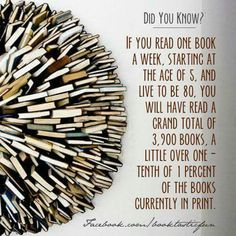 """""""If you read one book a week, starting at the age of 5, and live to be 80, you will have read a grand total of 3,900 books. A little over one-tenth of 1 percent of the books currently in print."""""""