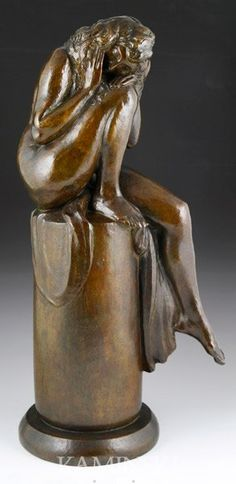 Henry Arnold, (French 1879 - 1945), bronze, lost wax technique, founded by AG Paris, edited by Goldscheider (La Stele), circa 1920's