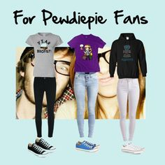 Pewdiepie outfits  by lexi-solar on Polyvore featuring polyvore, fashion, style, Object Collectors Item, Pieces, J Brand and Converse