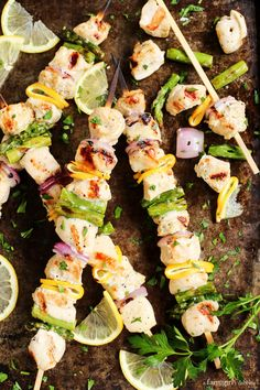Grilled Lemon Pepper Chicken Kebabs from afarmgirlsdabbles.com