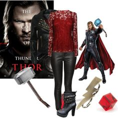 Thor by indieshutterbug on Polyvore featuring Dolce&Gabbana, Blonde + Blonde, Simply Silver, Gathering Eye and Marvel Comics