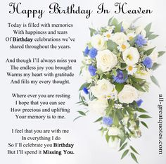 Birthday Heaven In Quotes Happy Mom Poems