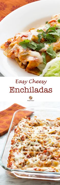 Enchiladas ~ Family favorite, Tex Mex cheese enchiladas recipe. Great dish to bring to a holiday potluck! Corn tortillas, lightly fried, rolled up with Jack or cheddar cheese, arranged in a casserole dish, covered with tomato and green chile sauce, and baked. ~ SimplyRecipes.com