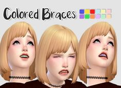 Colored Braces at Rinvalee via Sims 4 Updates  Check more at http://sims4updates.net/make-up/colored-braces-at-rinvalee/