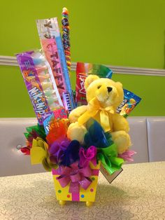 Birthday themed candy bouquet.
