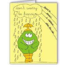 Don't Worry Be Happy Funny Creature in Rain Big Greeting Card