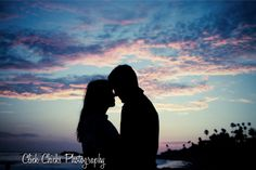 Sunset silhouette of my couple. www.ClickChicksPhotography.com #sunsetsilhouette #engagementphotos #beach photos