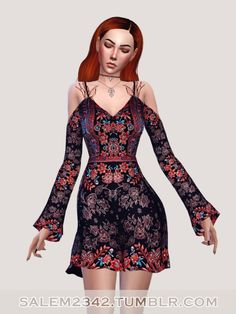 Salem2342: Cold shoulder swing dress • Sims 4 Downloads Check more at http://sims4downloads.net/salem2342-cold-shoulder-swing-dress/