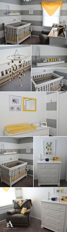 Yellow + Grey Gender Neutral #Nursery, could use orange, could add seashells with yellow & orange