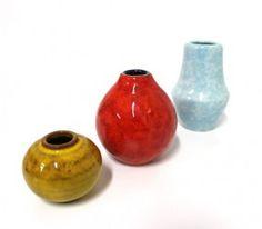 3 Keramik Vasen 60er